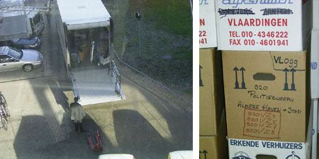 Left: Arrival of the last section of the OMA archive at the NAI. Right: Removal boxes containing OMA archive material.